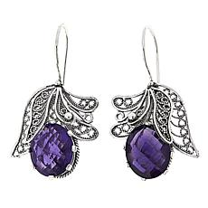Ottoman Silver Jewelry 8ctw African Amethyst Blossom Drop Earrings