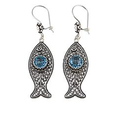 Ottoman Silver Jewelry Collection 5ctw Blue Topaz Fish Earrings