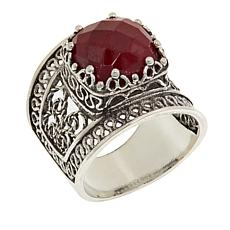 Ottoman Silver Jewelry Collection Corundum Bold Filigree Ring