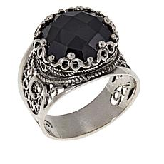 Ottoman Silver Jewelry Collection Round Black Spinel Filigree Ring