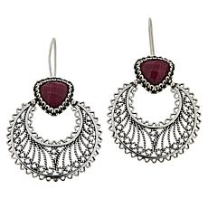 Ottoman Silver Jewelry Gemstone Crescent Moon Drop Earrings