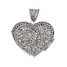 Ottoman Silver Jewelry Heart Locket Filigree Pendant