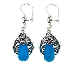 Ottoman Silver Jewelry Oval Blue Chalcedony Filigree Earrings