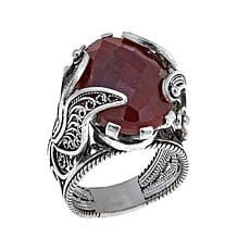 Ottoman Silver Jewelry Red Corundum 2-Tier Ring