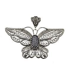 Ottoman Silver Sterling Silver CZ Filigree Butterfly Pendant