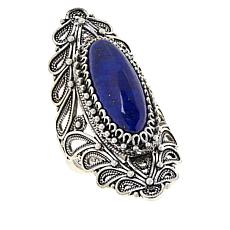 Ottoman Silver Sterling Silver Gemstone Elongated Ring