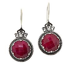 Ottoman Silver Sterling Silver Gemstone Floral Filigree Drop Earrings