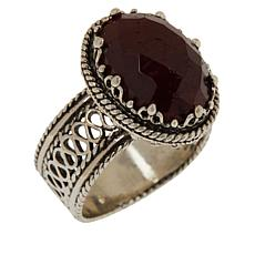 Ottoman Silver Sterling Silver Gemstone Oval Filigree Ring