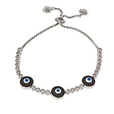 Ottoman Silver White Topaz & Gem Adjustable Triple Evil Eye Bracelet