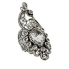 Ottoman Silver White Topaz Filigree Peacock Ring