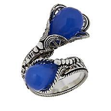 Ottoman Sterling Silver Briolette Gemstone Bypass Ring