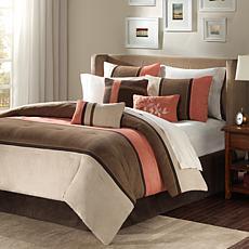 Palisades Micro-Suede 7pc Comforter Set - Queen/Coral