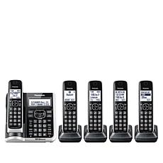 Panasonic 5-Handset Cordless Phone w/Auto Call Blocker and Link-2-Cell