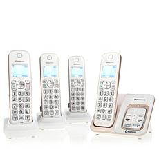 Panasonic DECT 4-Handset Cordless Phones w/Call Block & My SOS Family