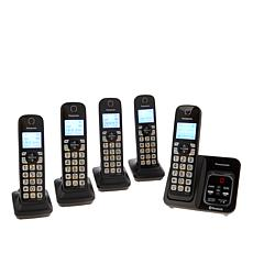 Panasonic DECT 5-Handset Cordless Phones w/Call Block & My SOS Family