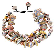 Paper Beads by Janice Mae Multi-Color 4-Row Adjustable Bracelet