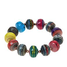 Paper Beads by Janice Mae Multi-Color Stretch Bracelet