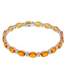 Passport to Gems 14K Fire Opal and Diamond Tennis Bracelet - 8x6mm