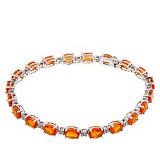 Passport to Gems 14K Fire Opal and Diamond Tennis Bracelet - 6x4mm