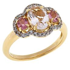 Passport to Gems 14K Gold Padparadscha Sapphire and Multi-Gem Ring