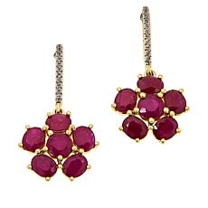 Passport to Gems 14K Ruby and White Zircon Flower Earrings