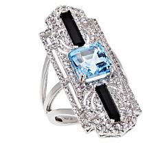 Passport to Gems 14K White Gold Sky Blue Topaz and Multi-Gem Deco Ring