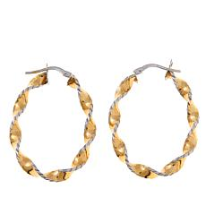Passport to Gold 14K Textured Twisted Oval Hoop Earrings