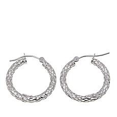 Passport to Gold 14K White Gold Diamond-Cut Tube Hoop Earrings