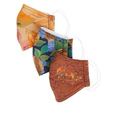 Patricia Nash 3-pack Reusable 4-Layer Printed Face Covering Set