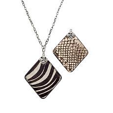 """Patricia Nash Abella Floret 31"""" Reversible Leather Pendant Necklace"""