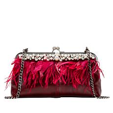 Patricia Nash Anzio Leather Frame Bag with Faux Feathers