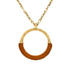 "Patricia Nash Carmelina 34"" Leather-Wrapped Ring Necklace"