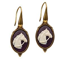 Patricia Nash Equestrian Cameo Drop Earrings