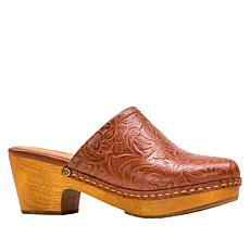 Patricia Nash Laura Wood Bottom Tooled Leather Clog