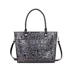 Patricia Nash Navelli Tooled Leather Tote - Black
