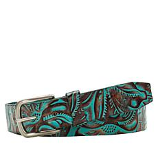 Patricia Nash Pelossa Turquoise Tooled Leather Belt