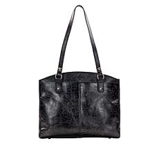 Patricia Nash Poppy Metallic-Embossed Leather Zip Tote