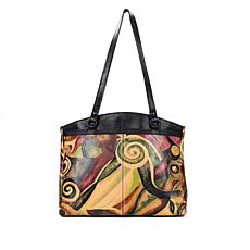 Patricia Nash Poppy Milano Graffiti Leather Tote