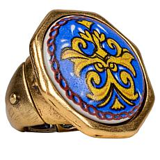 Patricia Nash Positano Print Ceramic Medallion Ring