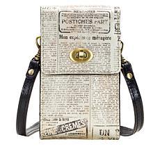 Patricia Nash Rivella Newspaper-Print Leather Small Crossbody