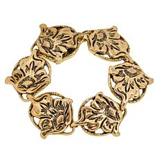 Patricia Nash Tooled Flower Vine Medallion Station Bracelet