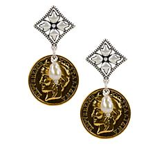 Patricia Nash Two-Tone Coin-Design and Floret Drop Earrings
