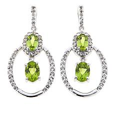 Paul Deasy Gem 2.9ctw Arizona Peridot and White Topaz Drop Earrings