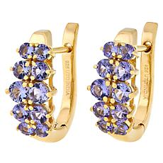 Paul Deasy Gem Gold-Plated Two-Row Round Gemstone Earrings