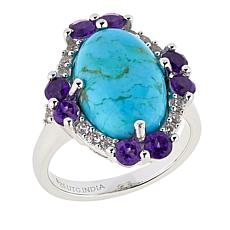 Paul Deasy Gem Kingman Turquoise, Amethyst and White Zircon Ring