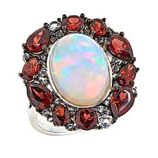 Paul Deasy Gem Opal, Garnet and White Topaz Sterling Silver Oval Ring