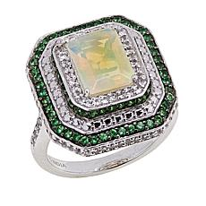 Paul Deasy Gem Opal, Tsavorite and White Topaz Octagonal Ring