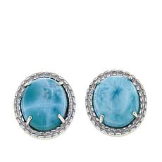 Paul Deasy Gem Oval Larimar Sterling Silver Stud Earrings