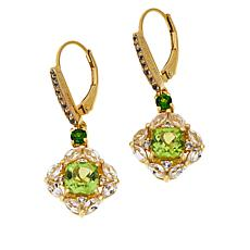 Paul Deasy Gem Peridot, Chrome Diopside and White Topaz Drop Earrings