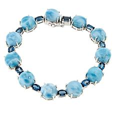 Paul Deasy Gem Sterling Silver Larimar and London Blue Topaz Bracelet